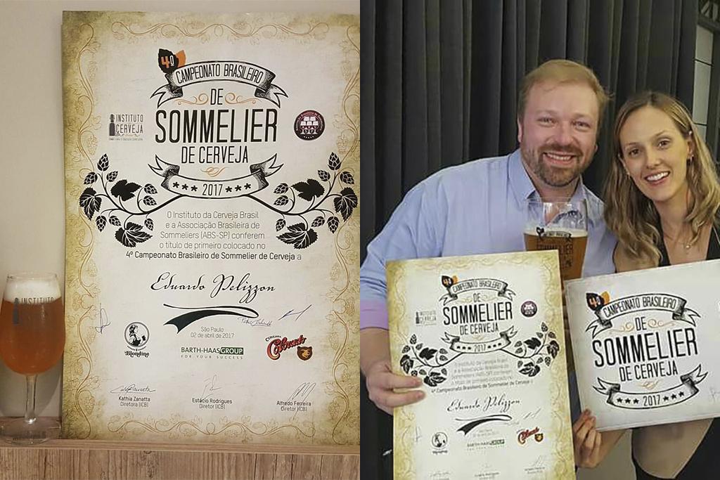 Edu Pelizzon comemora a conquista, ao receber o prêmio do Instituto da Cerveja Brasil (na foto, a diretora Kathia Zanatta)