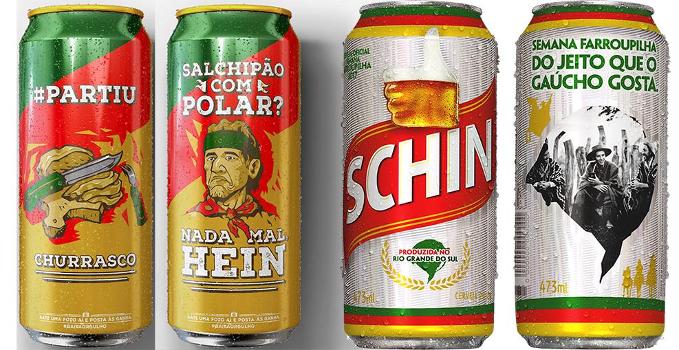 A Polar (Ambev) aposta em memes gauchescos, e a Schin (Heineken Brasil), em ensaio fotográfico (Fotos: Divulgação)