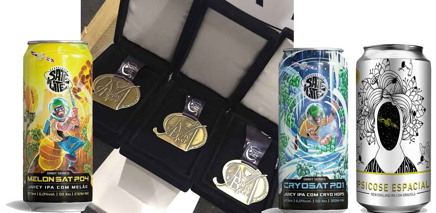 As cervejas que garantiram medalhas para a Satélite no Mondial de La Bière SP (Fotos: Divulgação)