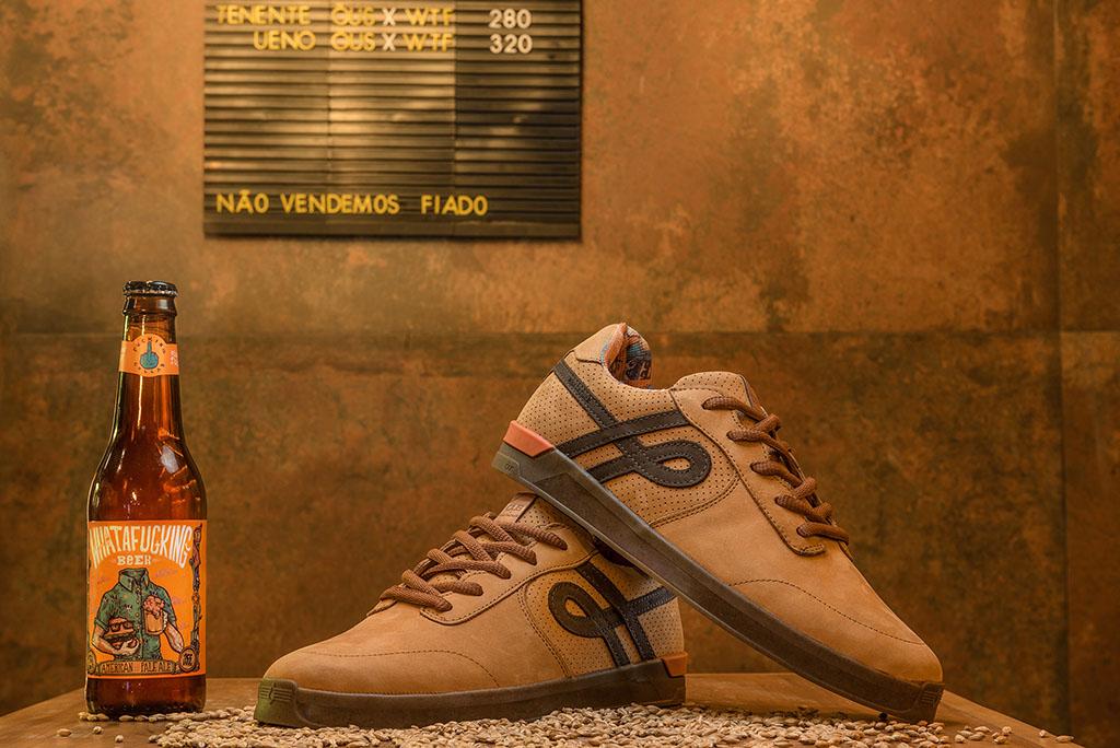 O calçado leva os resíduos do bagaço de malte da cerveja produzida pela Whatafuck Hamburgueria (Foto: Divulgação)