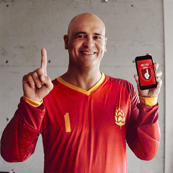 """Marcos vai """"invadir"""" o aplicativo e ser o """"Goleiro Brahma"""" por um dia, atuando em dois jogos na cidade de São Paulo (Foto: Divulgação)"""