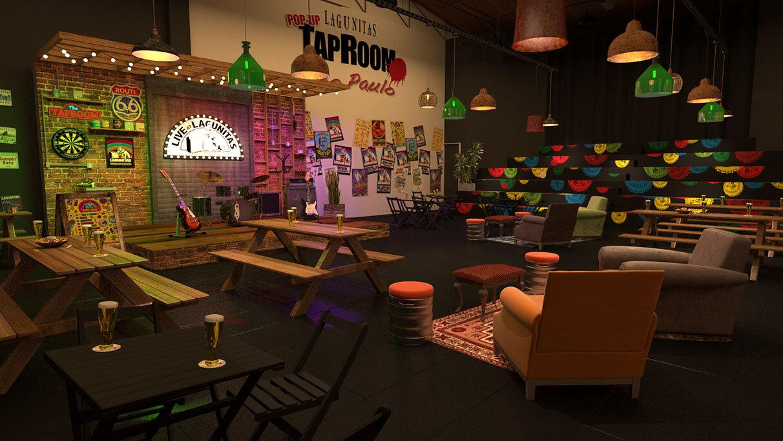 O Pop-Up Tap Room pode receber até 250 pessoas e conta também com uma área externa (Foto: Divulgação)
