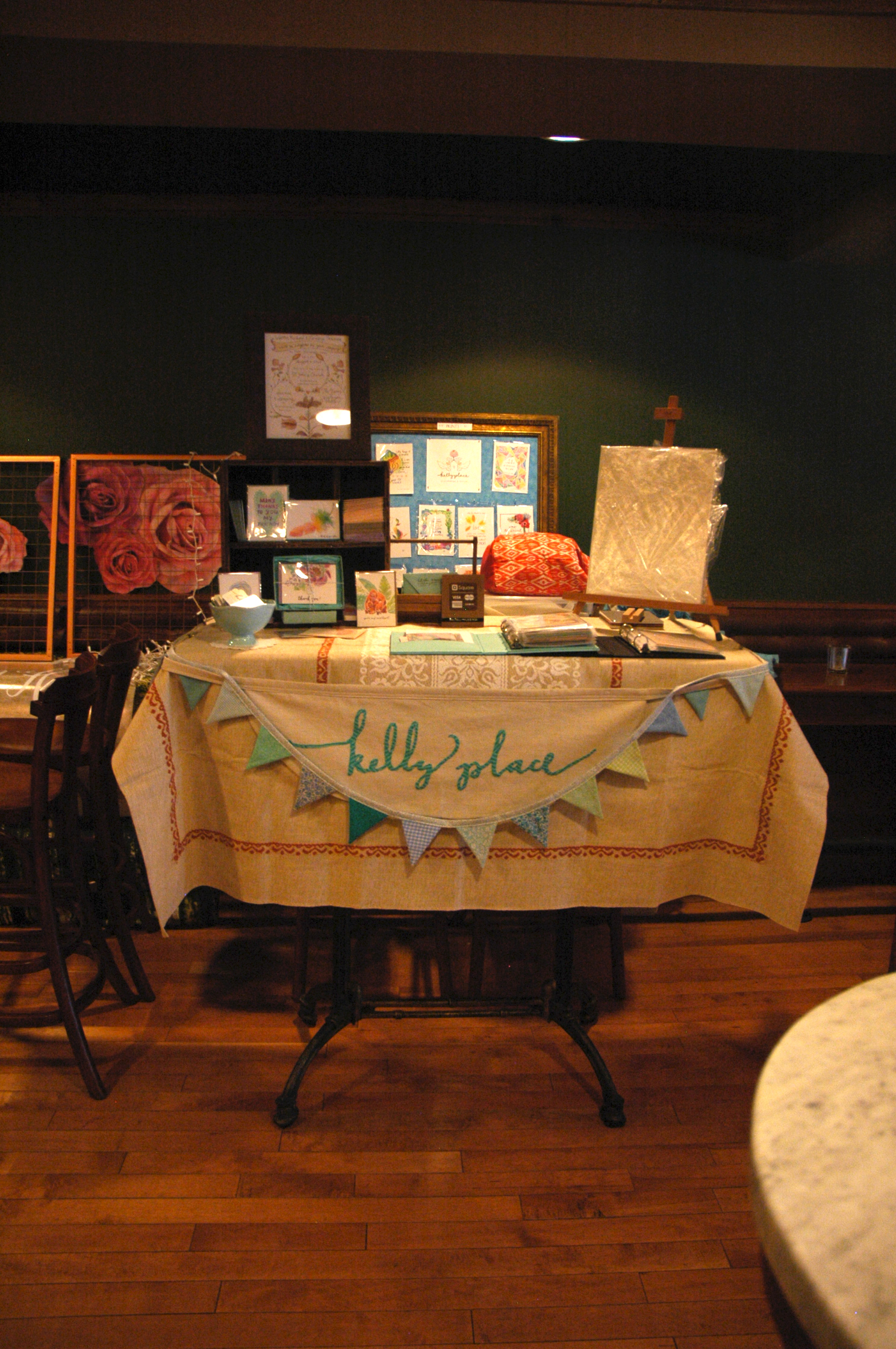 My booth for the show, complete with logo banner by Rachel Herman. Thanks, Rachel!