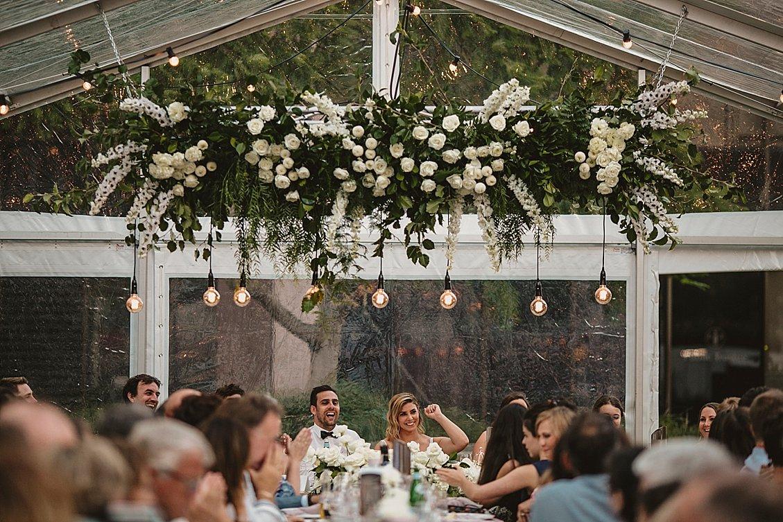 hanging florals wedding reception