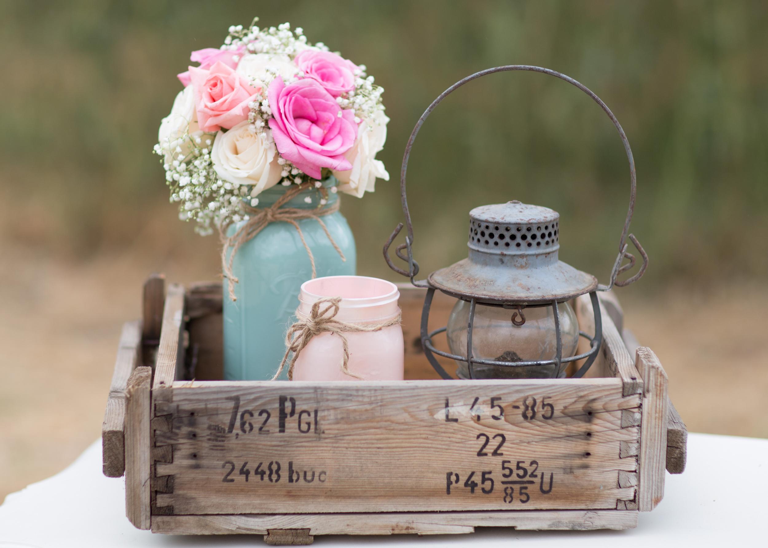 Vintage crate, vintage lantern