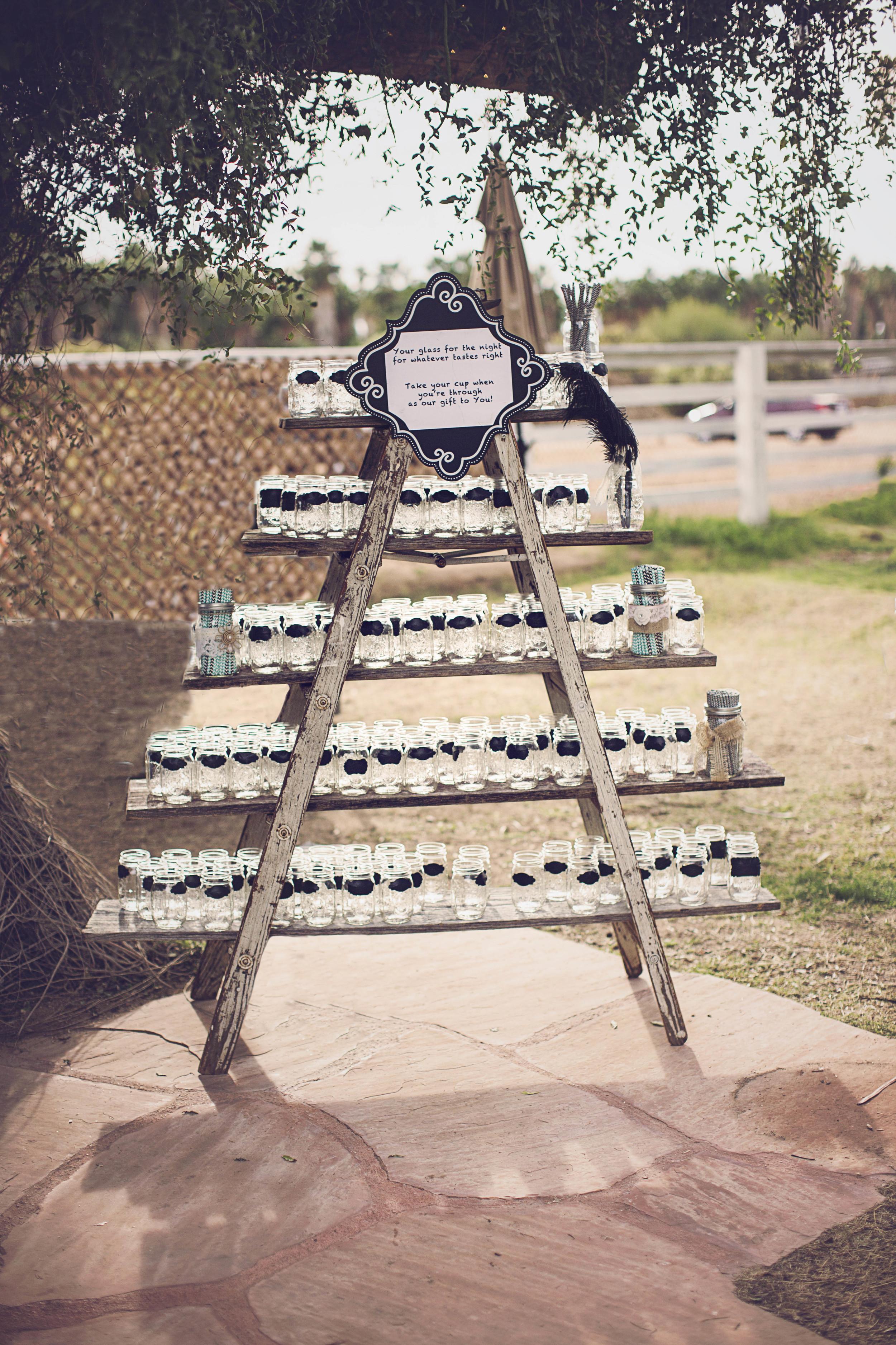 Mason Jar favors on Vintage Display ladder