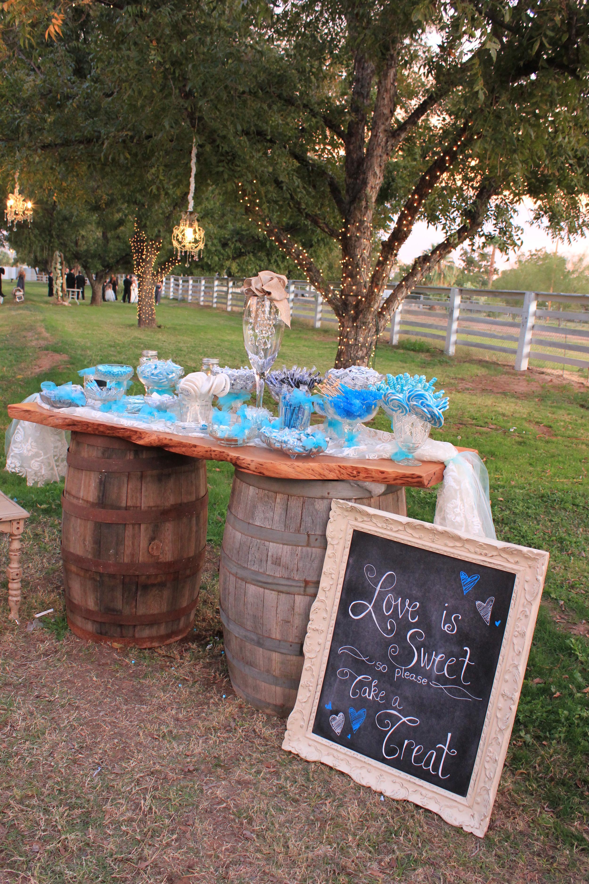 Wine barrel tabletop- dessert table