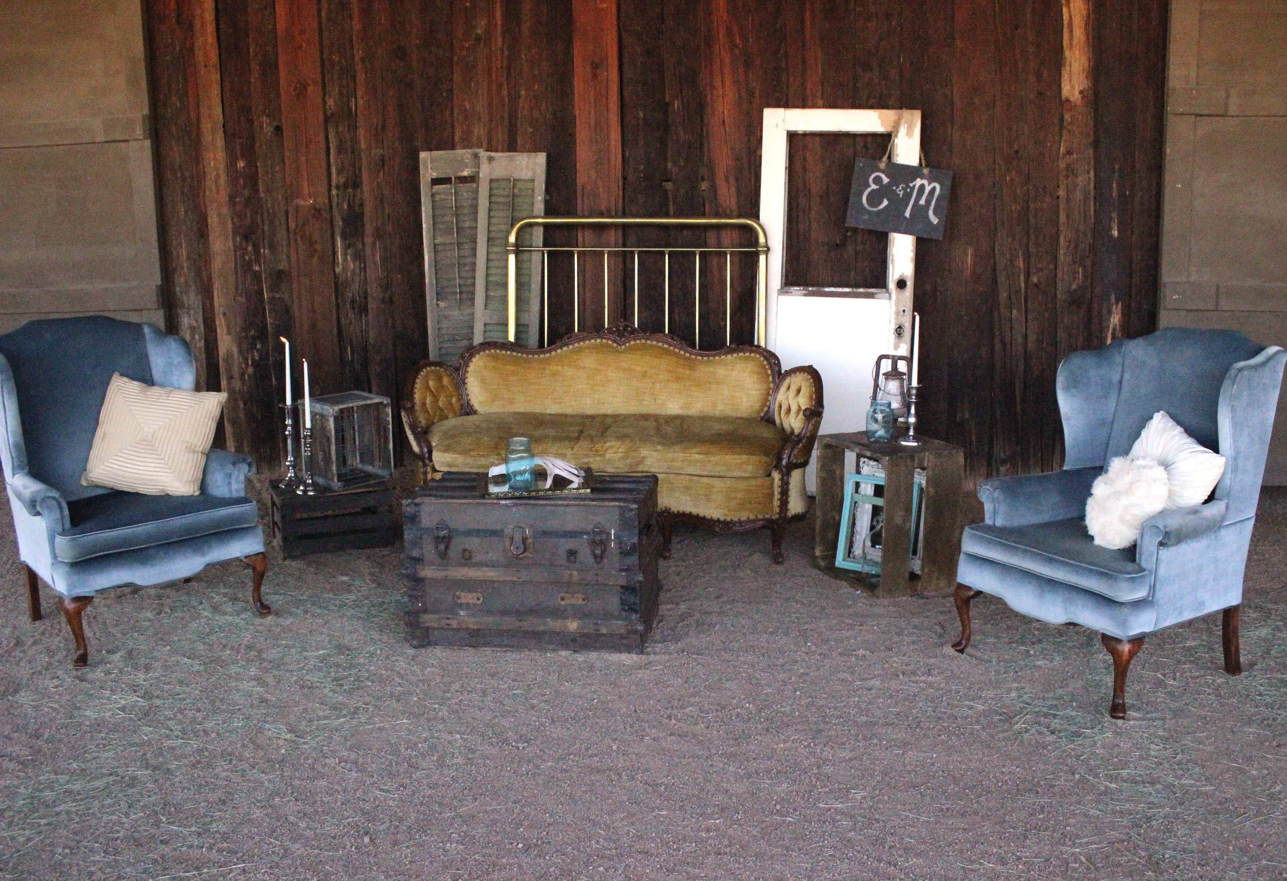 Vintage Lounge setting with Johnny and June Chairs and Belle couch