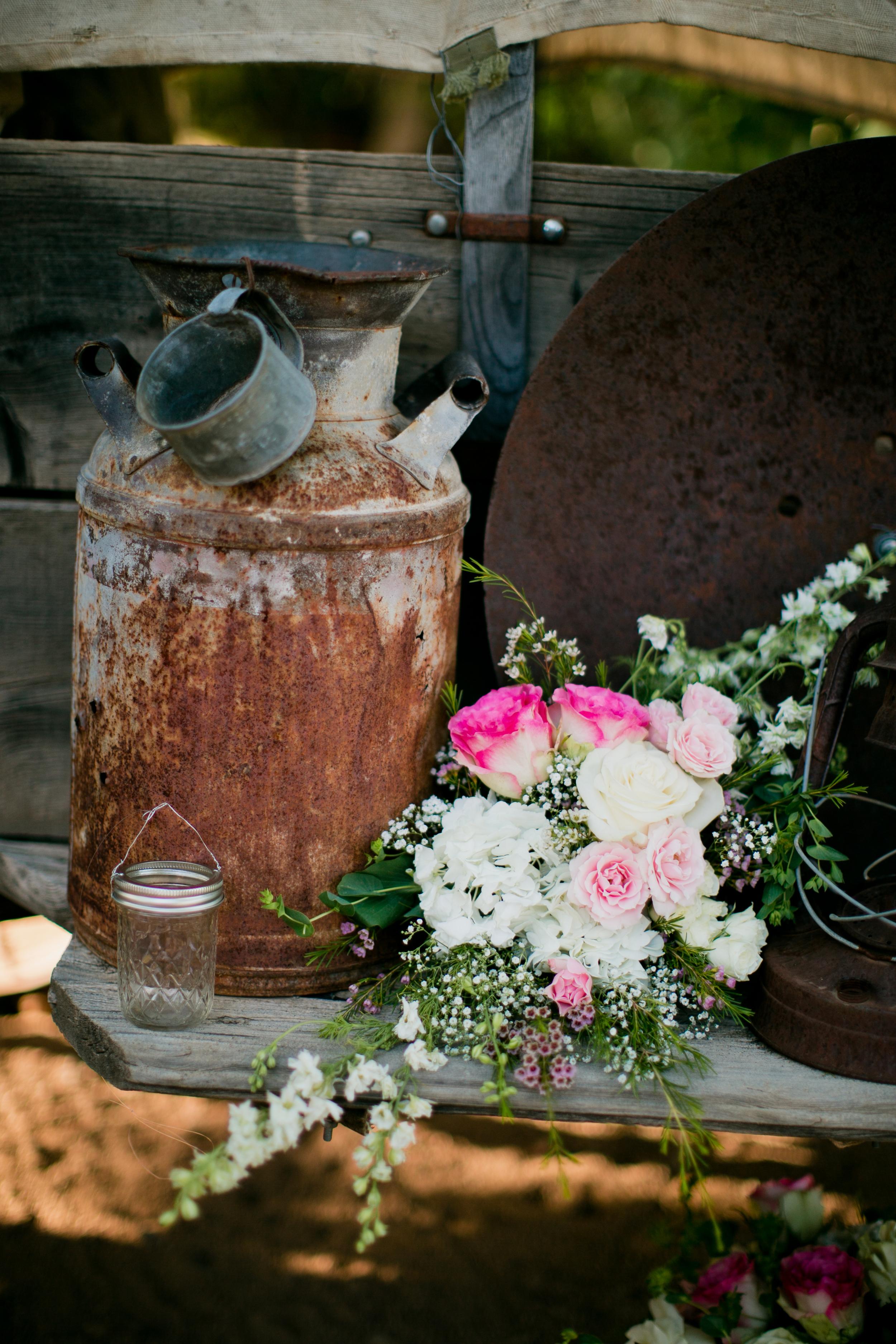 Rustic embellishments, vintage milk jug