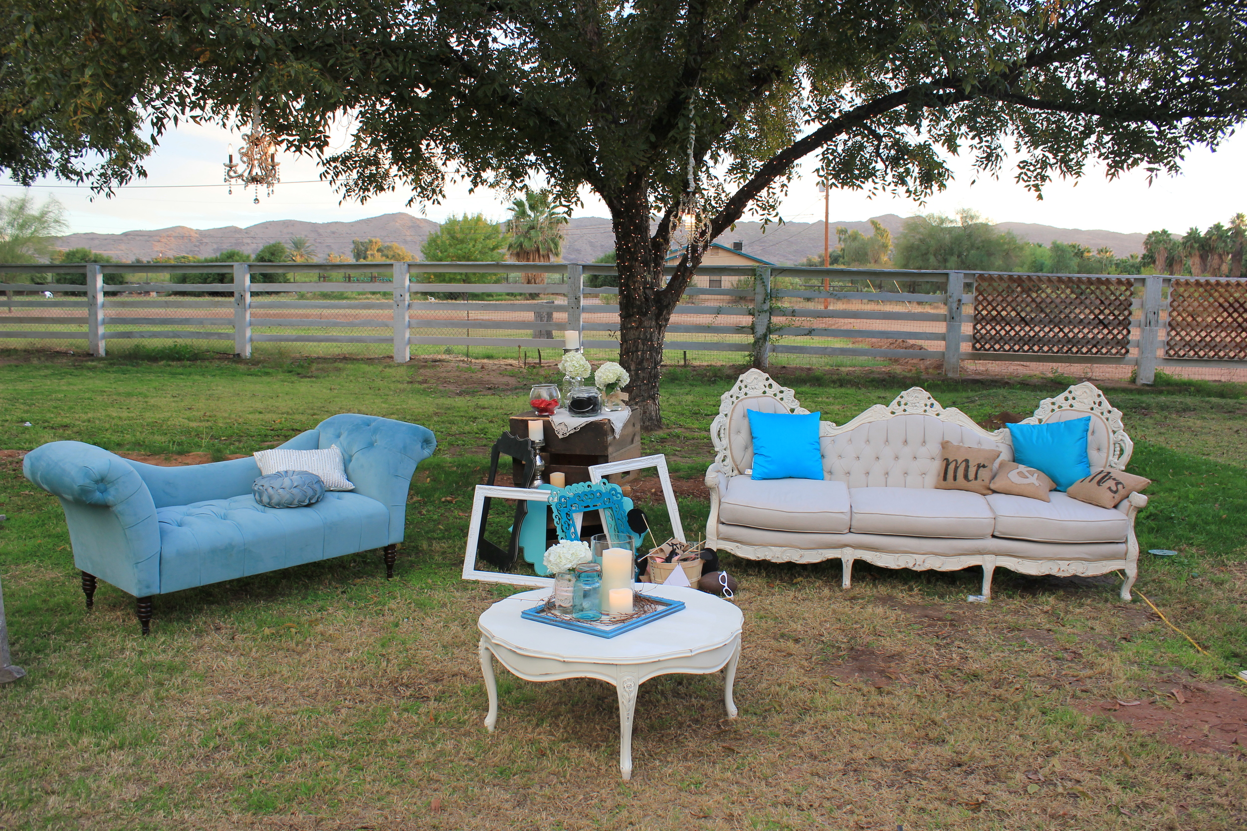 Vintage lounge setting with Elizabeth Victorian couch and Constance Chaise