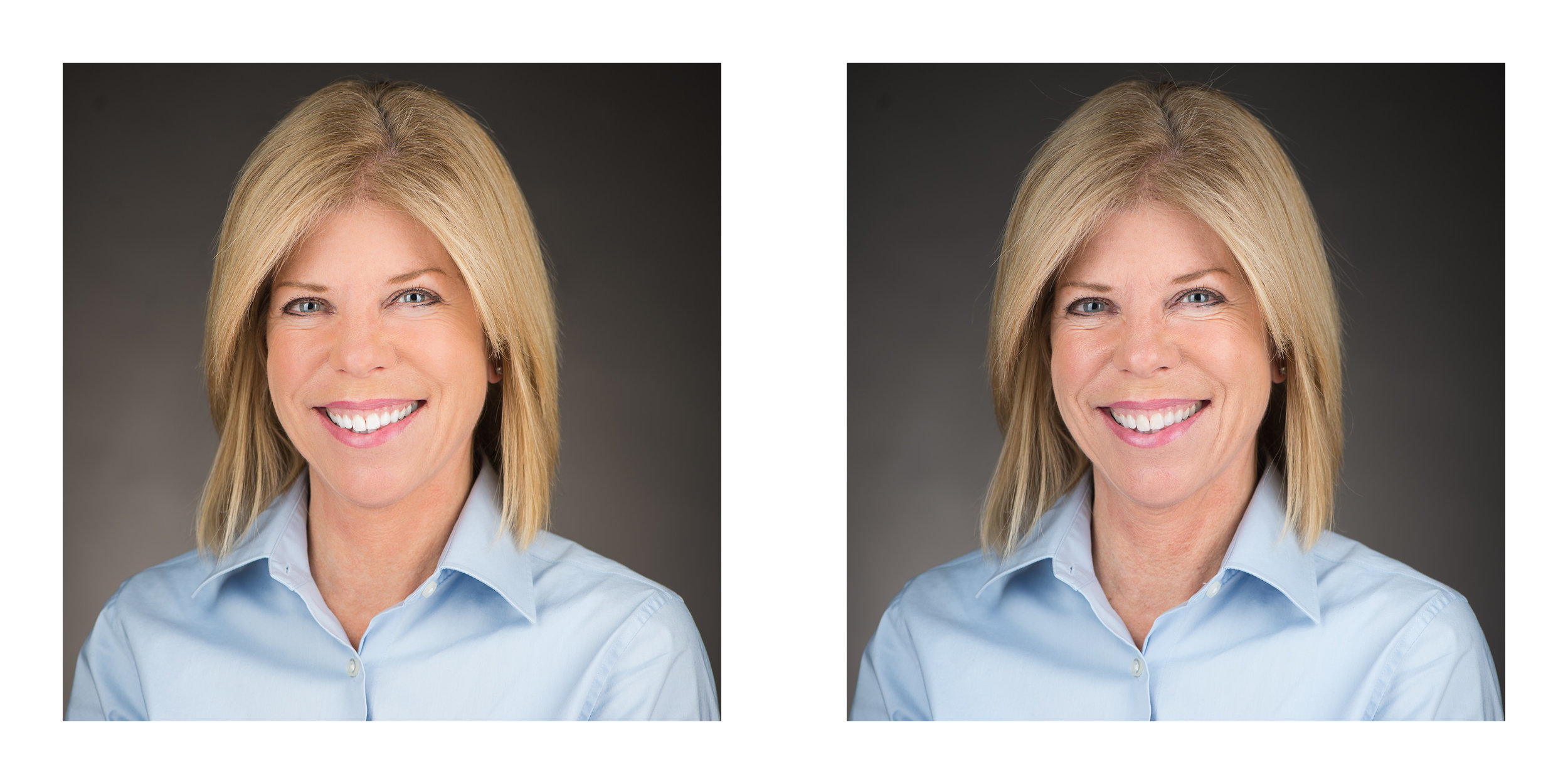 With and without retouching. It's subtle, but critical. Show your clients that details matter!