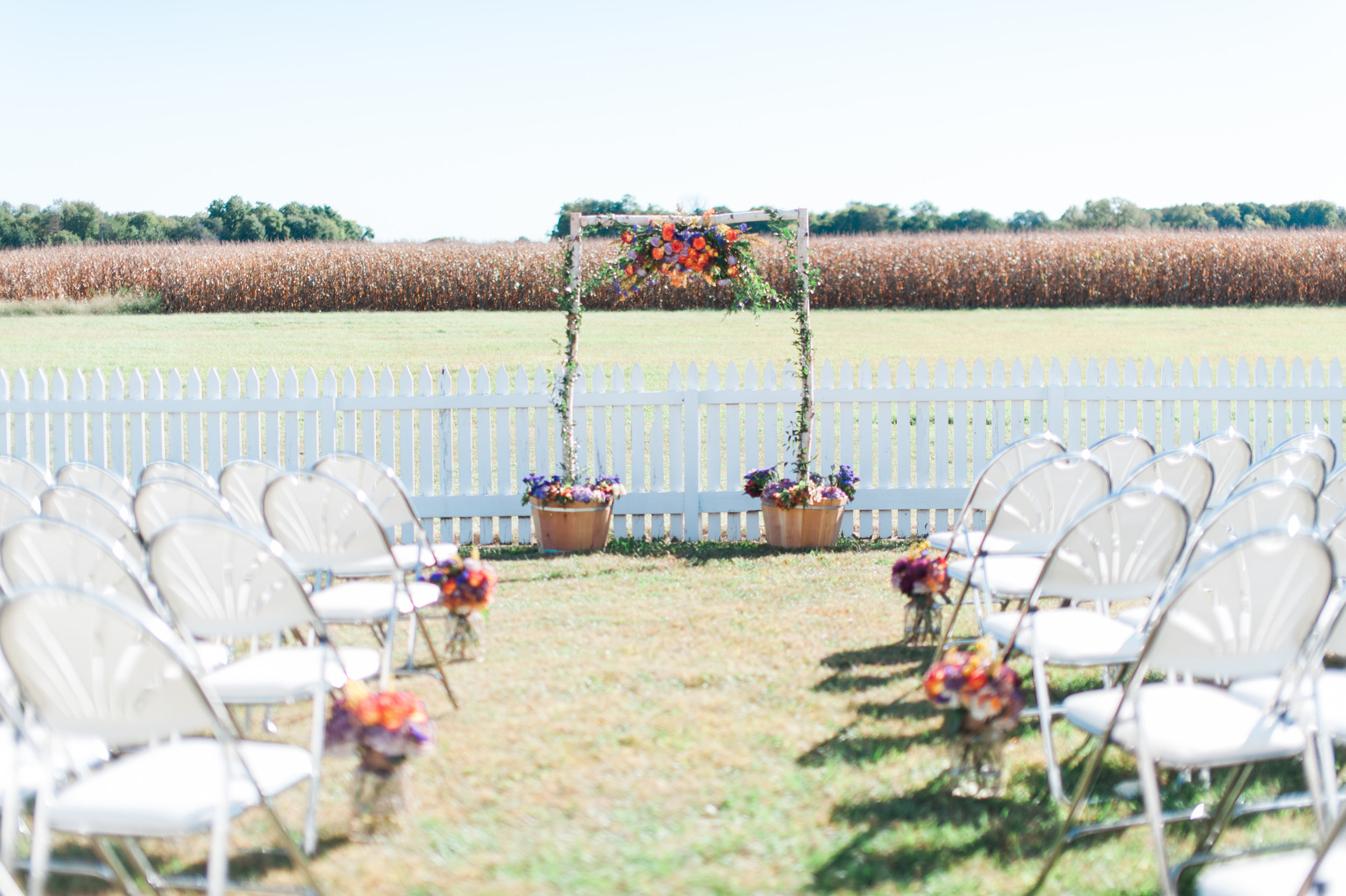 The wedding ceremony space for a fall wedding in Omaha. A wedding venue with an outdoor space near Omaha.