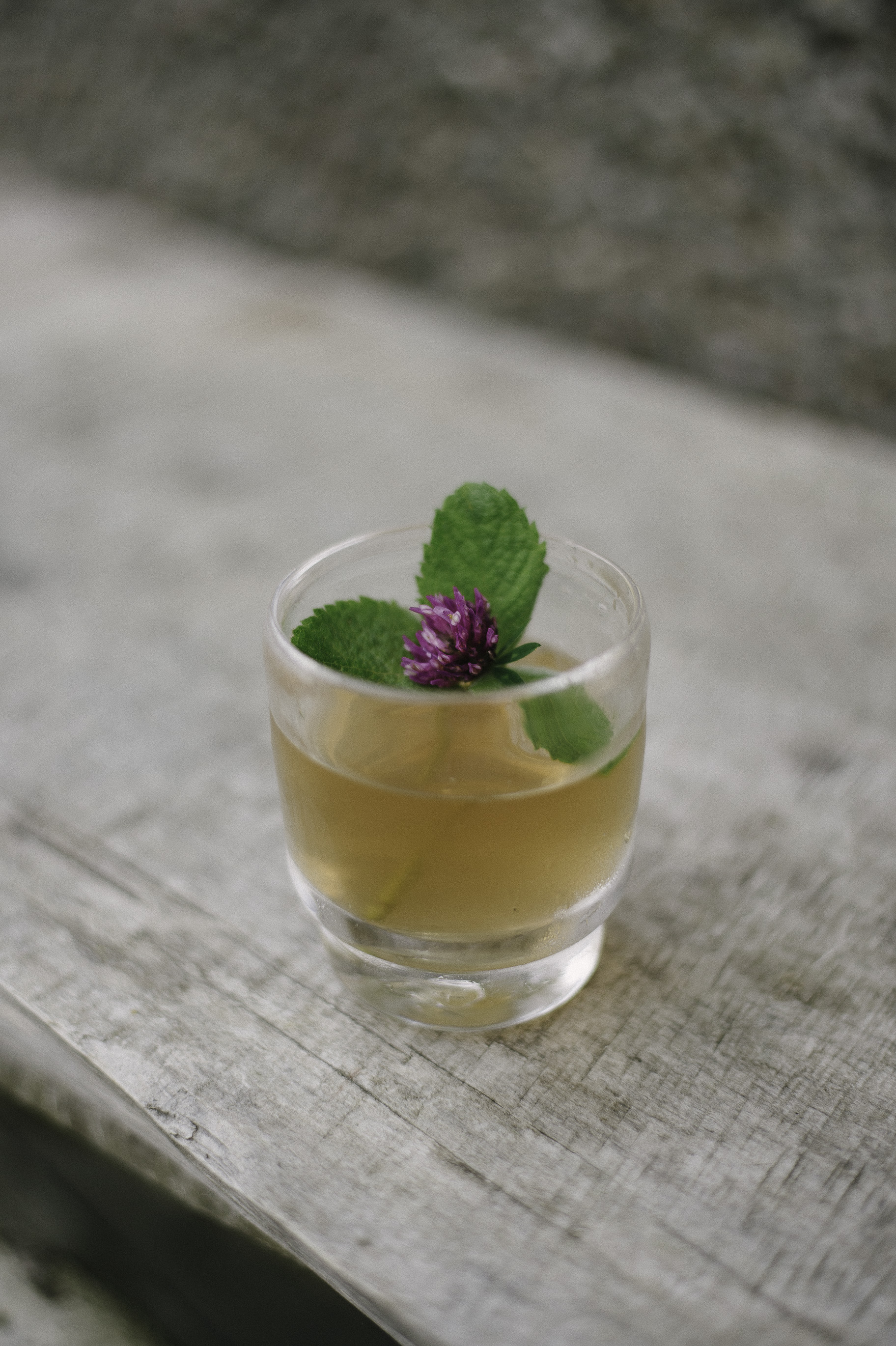 The Druid  - 50ml Prizefight Whiskey10ml Red Clover Lemonade SyrupFresh Mint & Clover to garnish.Muddle a little mint in a shaker, pour over whiskey and syrup, add ice. Stir and strain into glass. Garnish with fresh mint and clover.