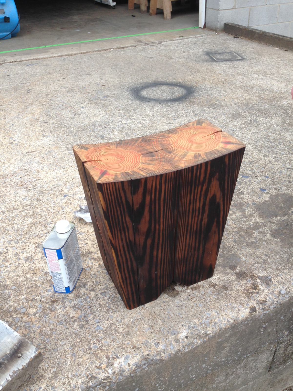 """scorched pine beam stool"""