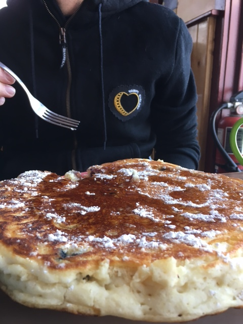 """Perhaps this 14"""" pancake explains side-stitch I had later."""