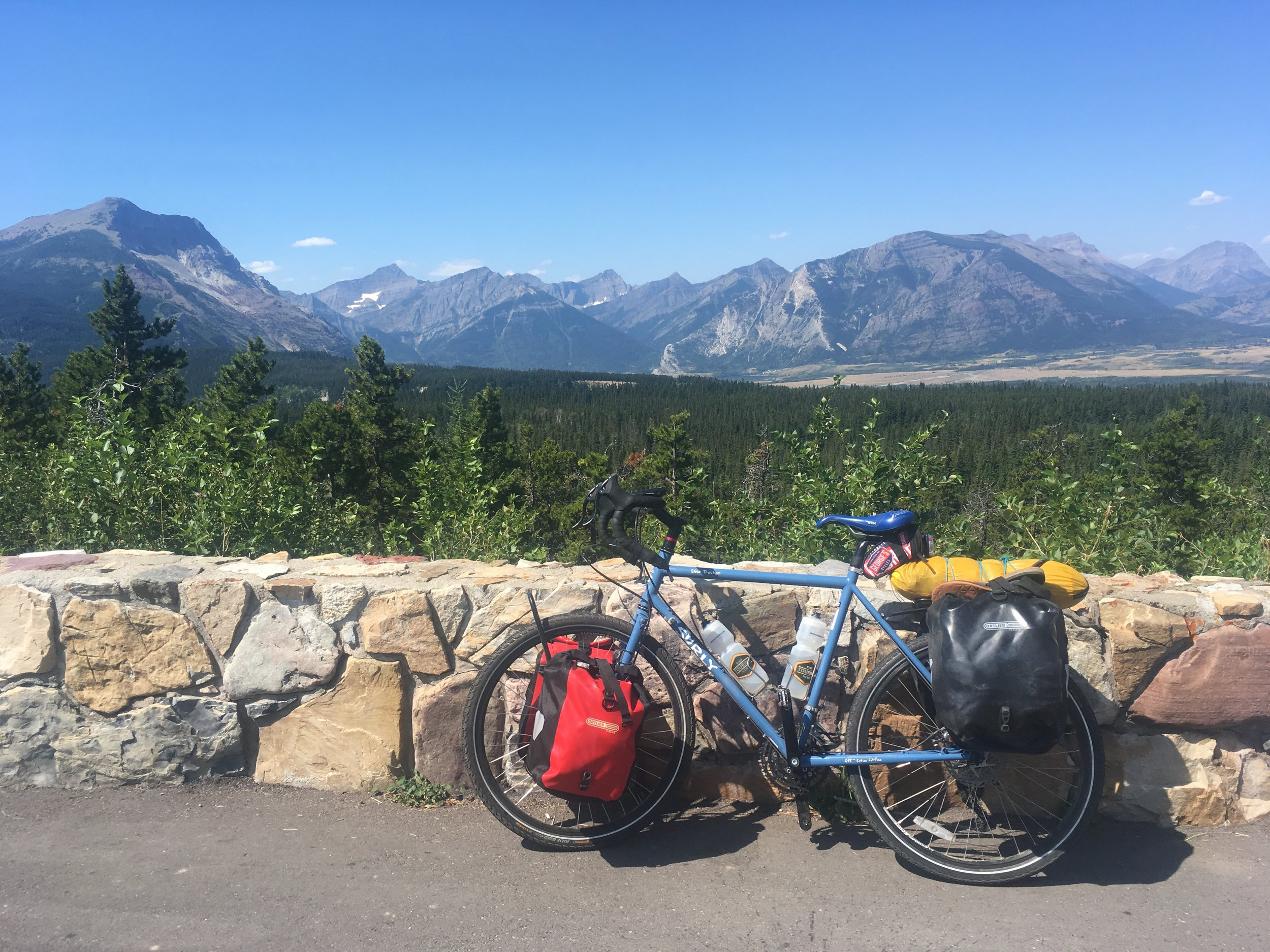 Blue skies and blue bikes somewhere in Canada