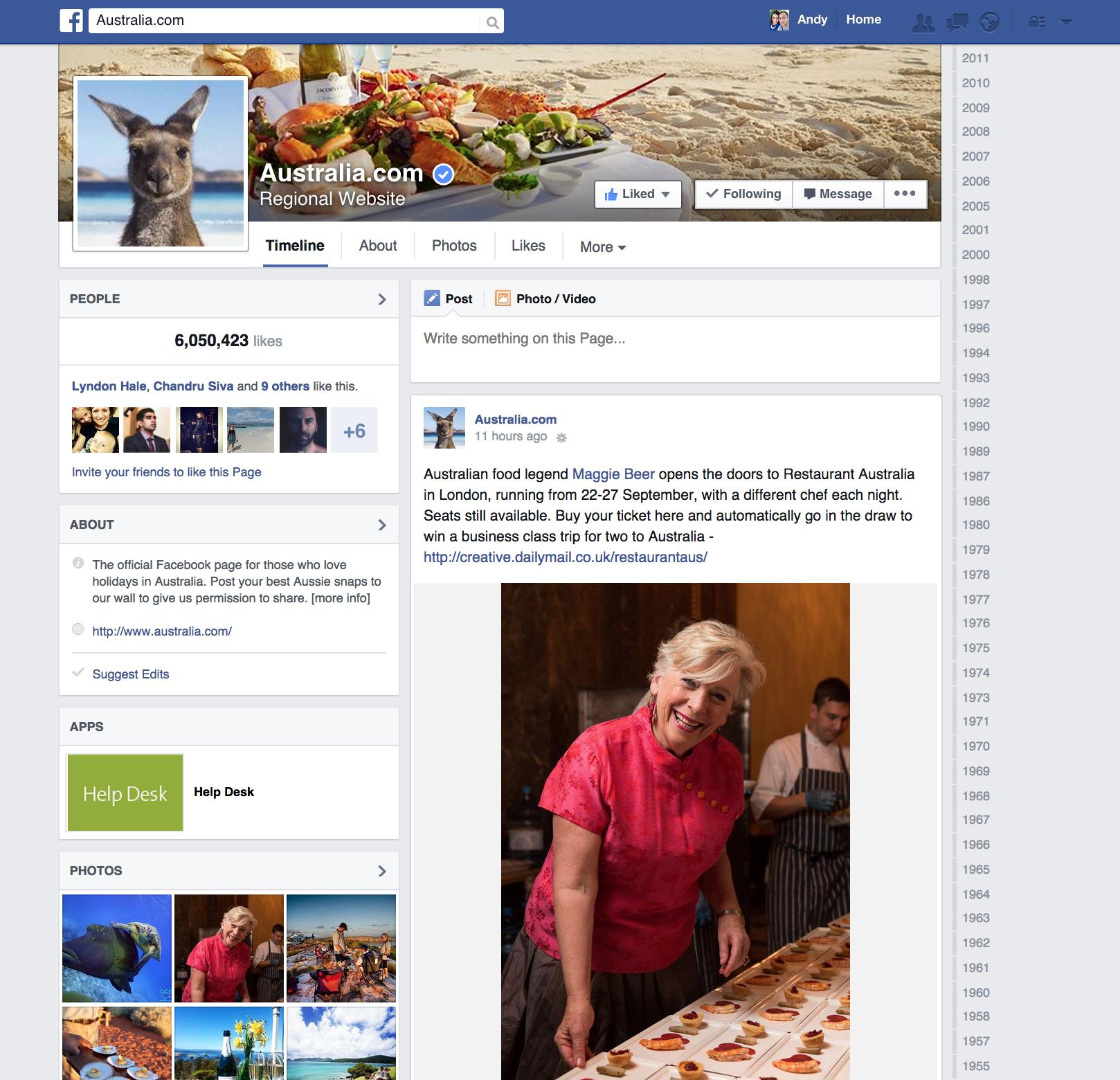 Tourism Australia Facebook Page