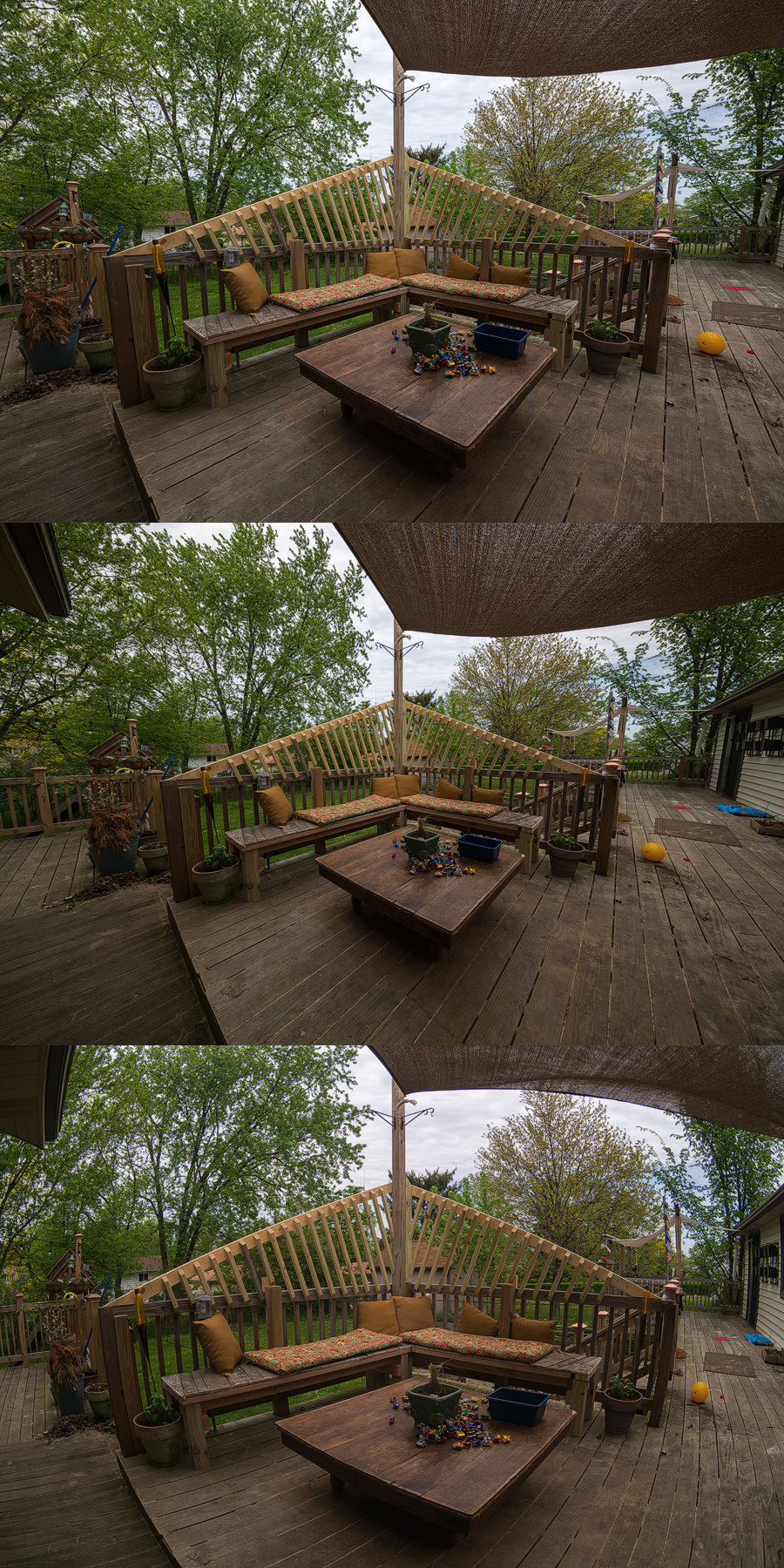 Some test shots on our back deck. Top to bottom- 14mm, 11mm, 16mm fisheye. You can see the Irix is just about as wide as the fisheye without the distortion!