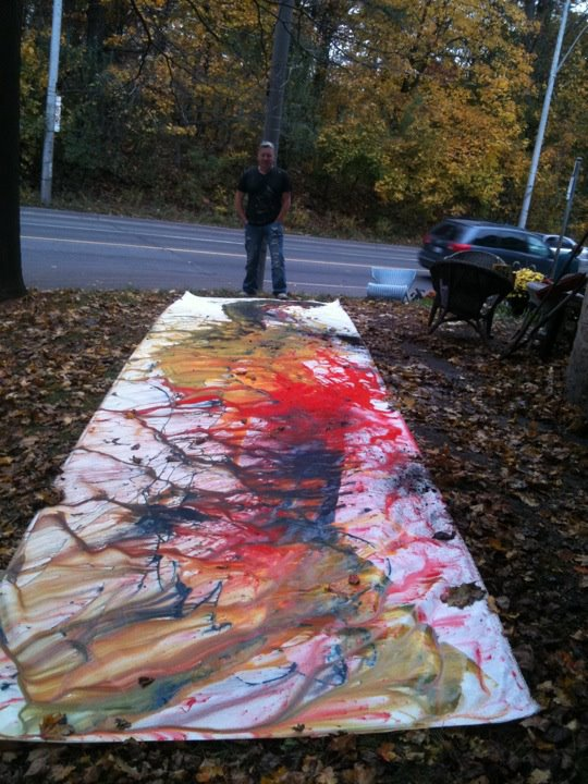 Occasionally, Scotty enjoys working on a large canvas with his abstracts. Afterwards he tears it up to create individual pieces.