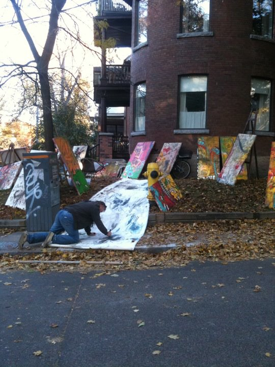 Fall 2011 - before having his own gallery, Scotty painted and sold his work off of his lawn on Parkside Drive in High Park/Toronto. It was a very lucrative YART SALE.
