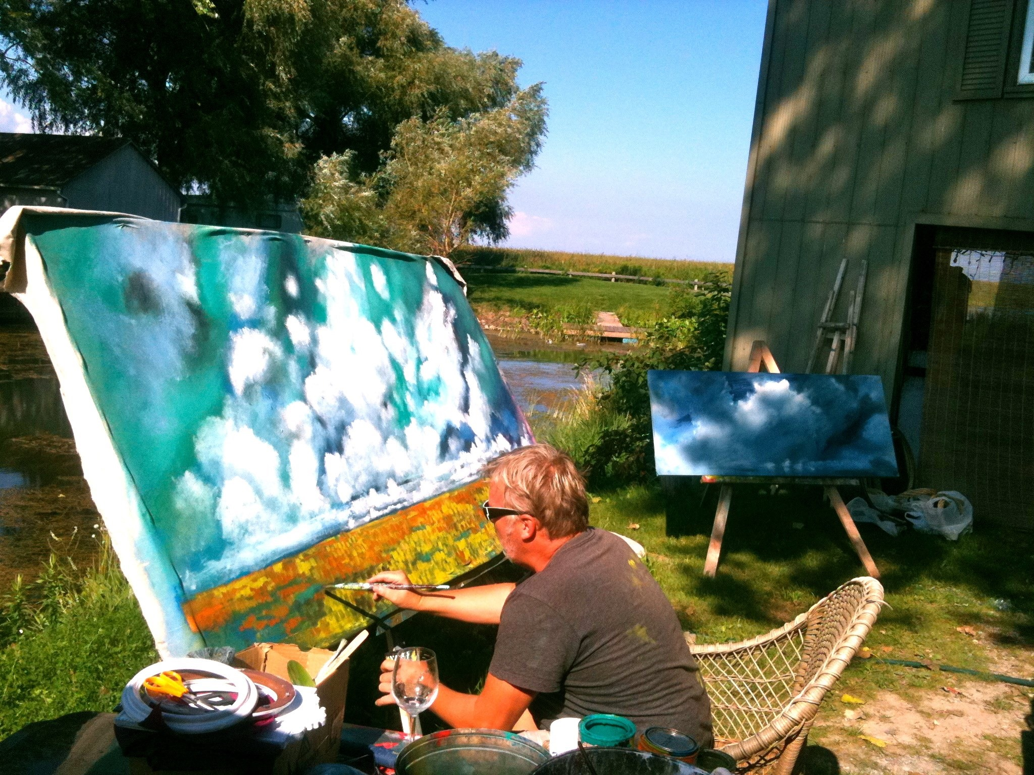 Scotty painting his popular Sky Collection - summer 2012 - Long Point, Ontario