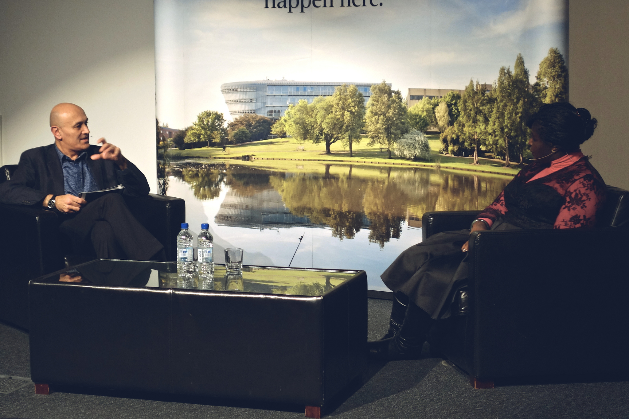Prof Jim Al-Khalili interviewing Dr Maggie Aderin-Pocock at the University of Surrey on March 3, 2014
