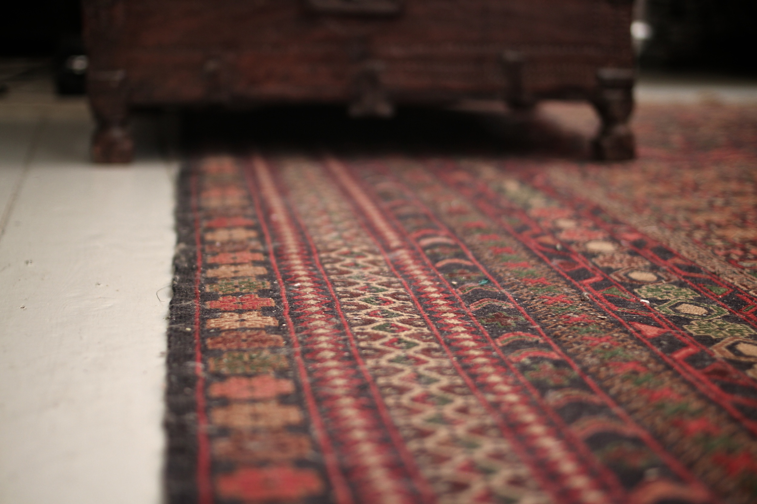 Turkish carpet and Indian dowry chest