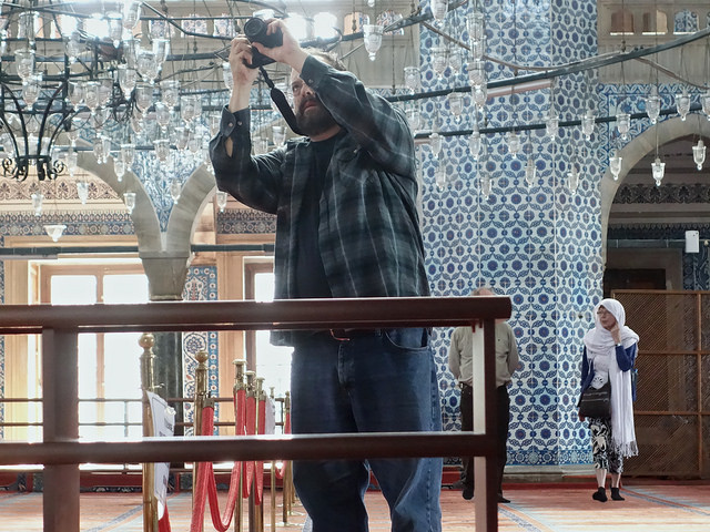 A tourist in a mosque