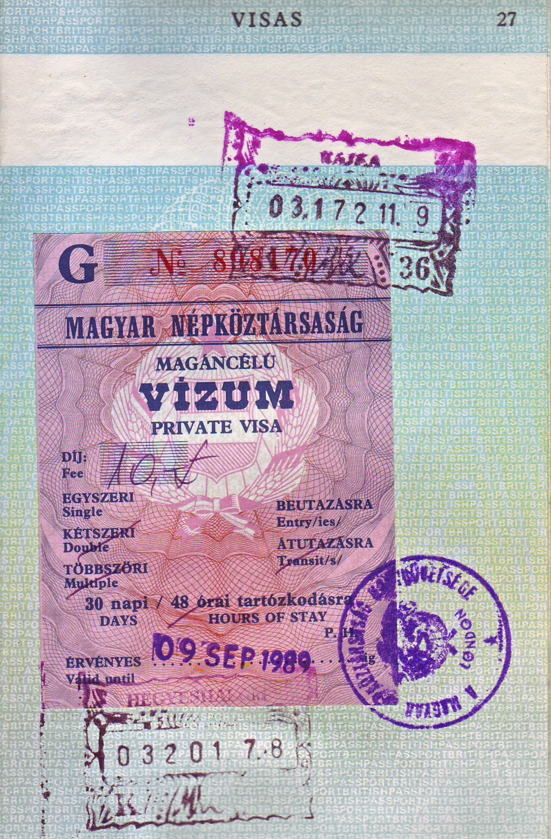 A visa from the last month of existence of the Socialist  Hungarian People's Republic  (click to enlarge)