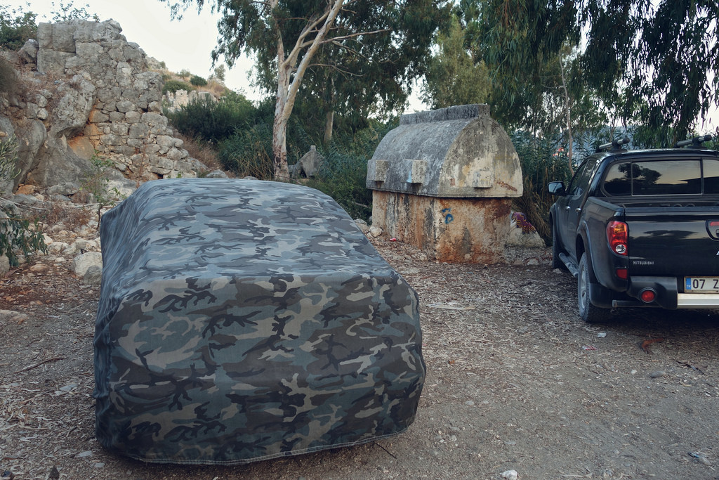 Camouflaged car and Lycian sarcophagus