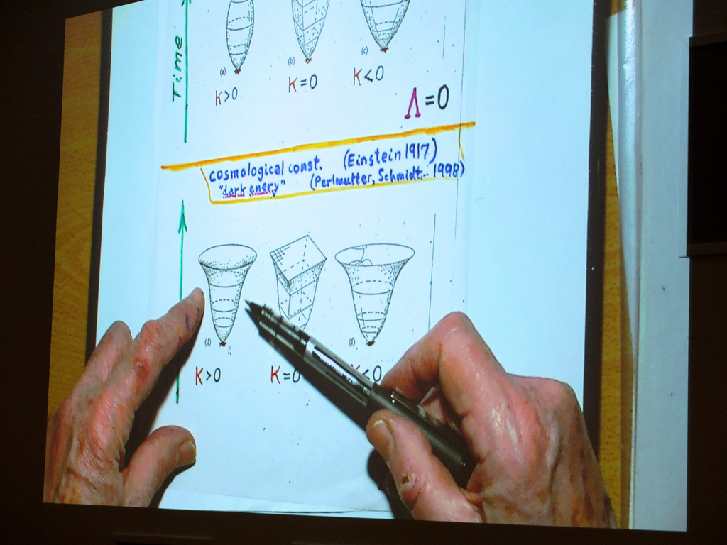 A Penrose space-time diagram on the overhead projector during the lecture