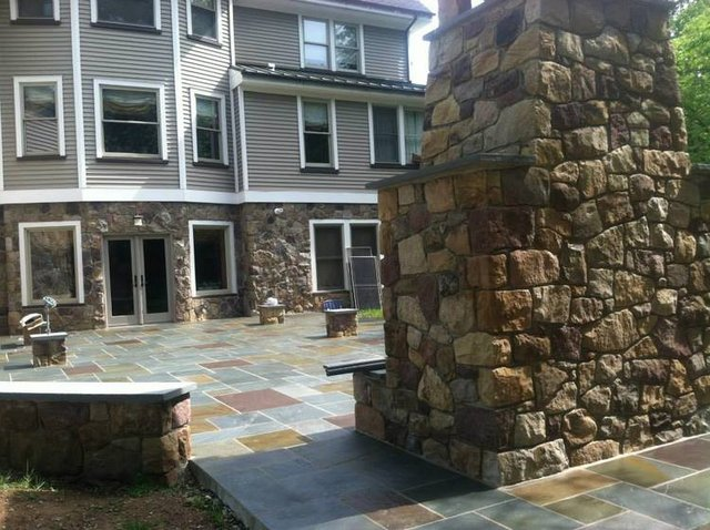 Entertainment Patio - Completed Stone Fireplace and Stone Side-seating