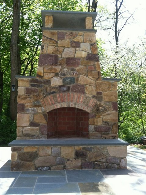 Entertainment Patio - Outdoor Stone Fireplace