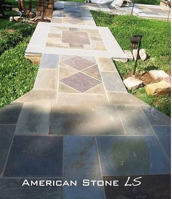 Flagstone entrance by @americanstonels ⚒