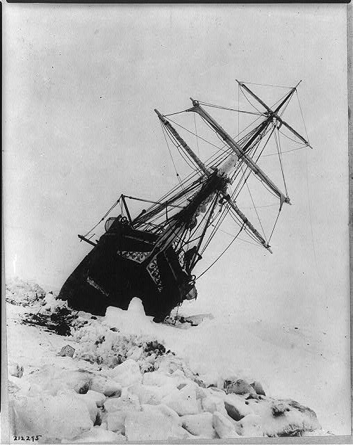 Ernest Shackleton's  Endurance  stuck in ice, Antarctica, 1915. Photograph by Frank Hurley.
