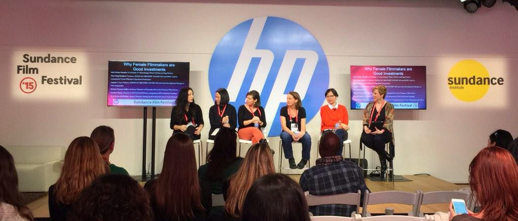 Nina Yang Bongiovi, Angela C. Lee, Julie Parker-Benello, Michele Turnure-Salleo, Jennifer Phang, and Grace McPhillips, HP Sundance House 2015