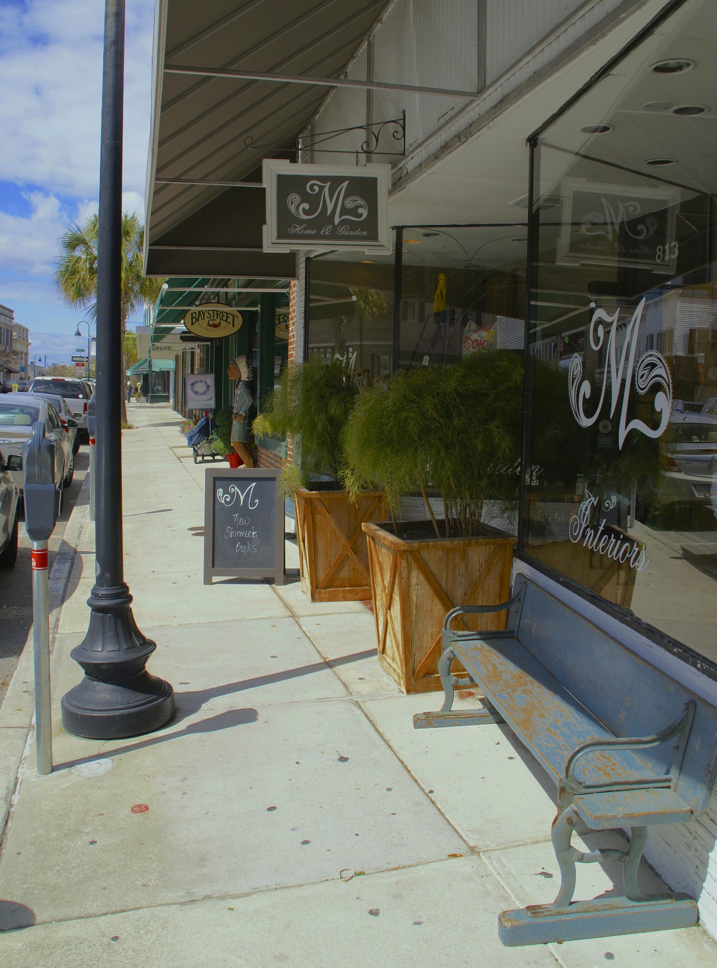 sidewalk along Bay Street in Beaufort
