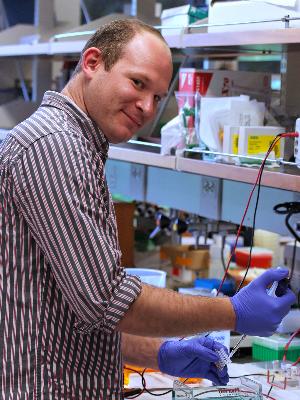 Chris slaving away in the lab!