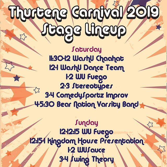 Come out to see these amazing performances at the Carnival! Chahaat and the WU Dance Team did an incredible job, and we have much more! We're open today and tomorrow from 11am-8pm! 🎡🎉 #thurtene #thurtene2019