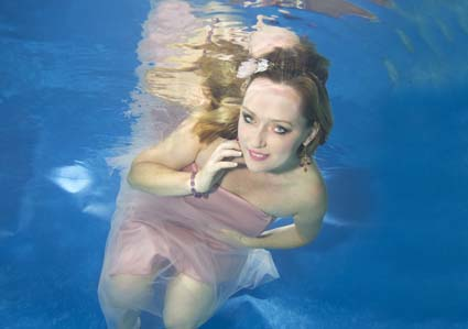 Mairead underwater at a photo shoot in Mentmore