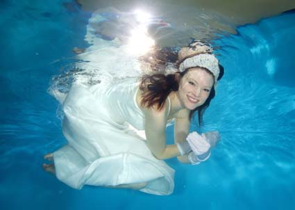 Jeannie underwater in Nottingham.