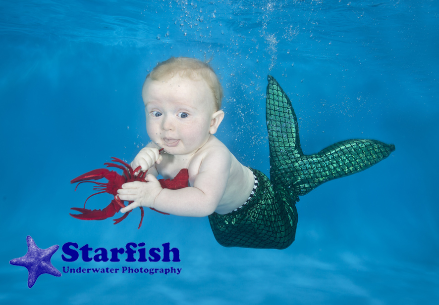 Mer-man alert! Freddie Lyons, 5 Months, at an underwater photo shoot with Bubbles Swim School in West Sussex.