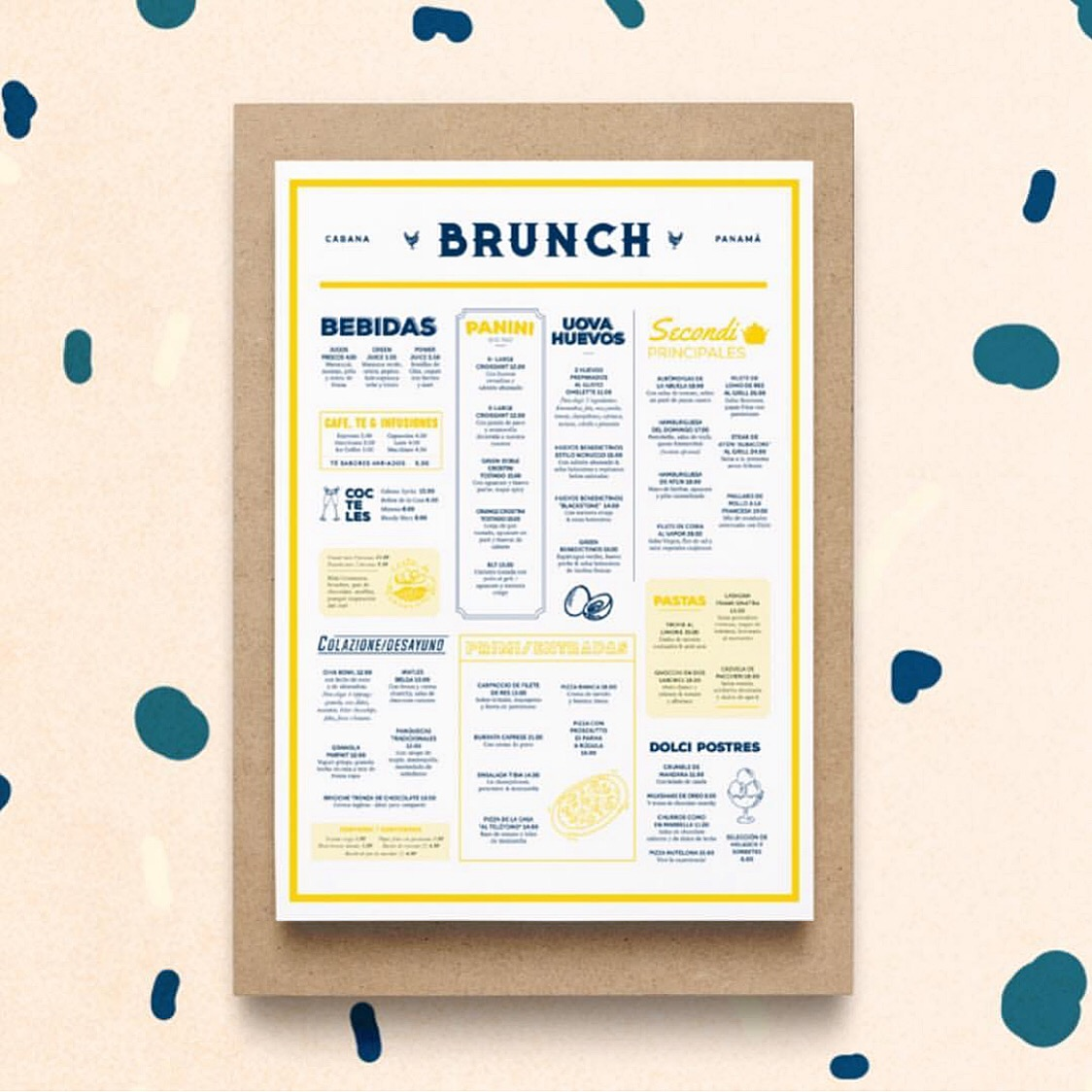 Brunch Menu design for Cabana Panama & Print Production