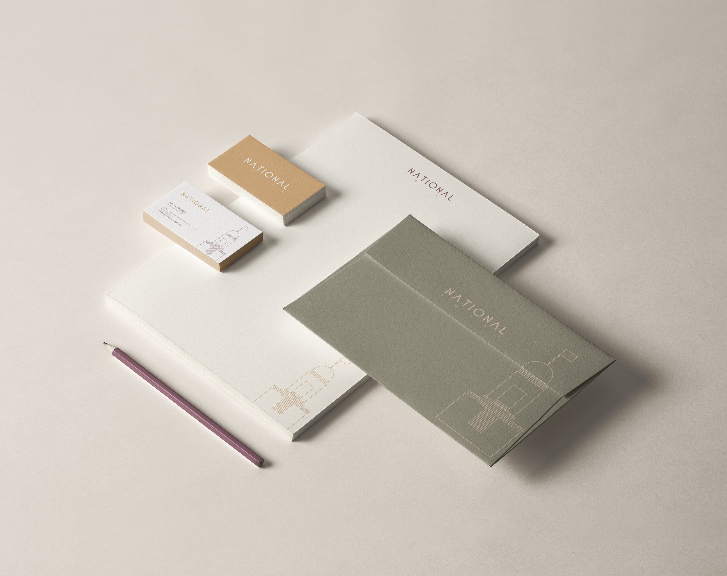National Hotel Stationery design