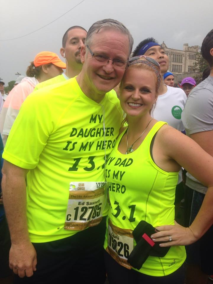 Pastor Ed Sasnett and his daughter Laura after completing their half-marathon run (13.1 miles).