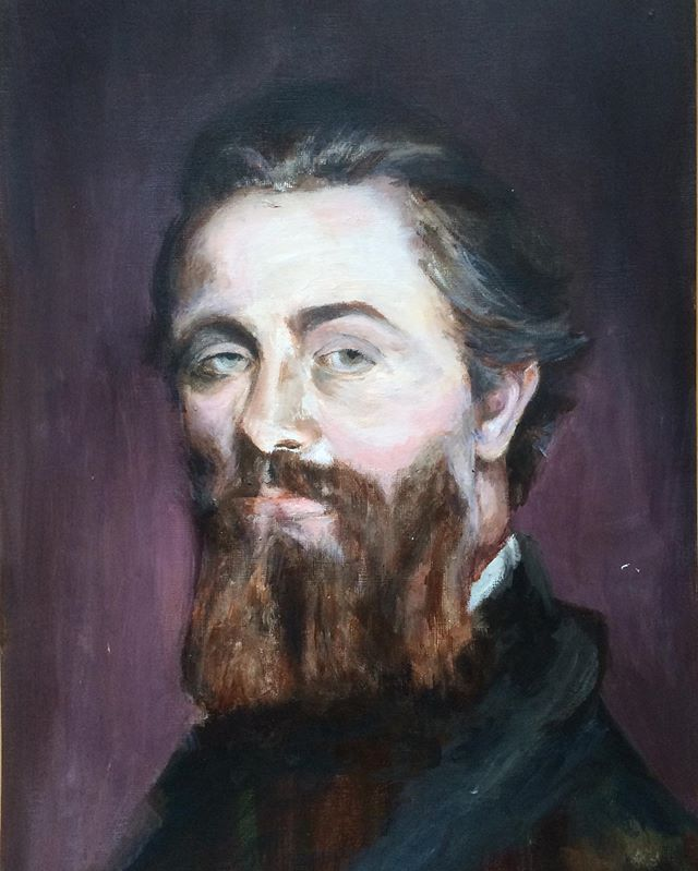 """HAPPY 200TH BIRTHDAY to my homeboy Hermie 🥳🤩😍 Here's a painting I did of you in 2014. Of course it's incomplete (cuz """"god keep me from ever completing anything,"""" etc. Except my dissertation). Herman Melville, acrylic on shitty canvas, 2014.  #hermanmelville #melvillebicentennial #melvilleat200"""