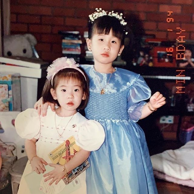 3-year-old me pregaming for life and @xmelissacheongxx's 5th bday party with books. While wearing the kind of dress that *always* made me cry. (I suspect this picture was taken right after that dress came on.) • Singapore, 1994.  #sistasista