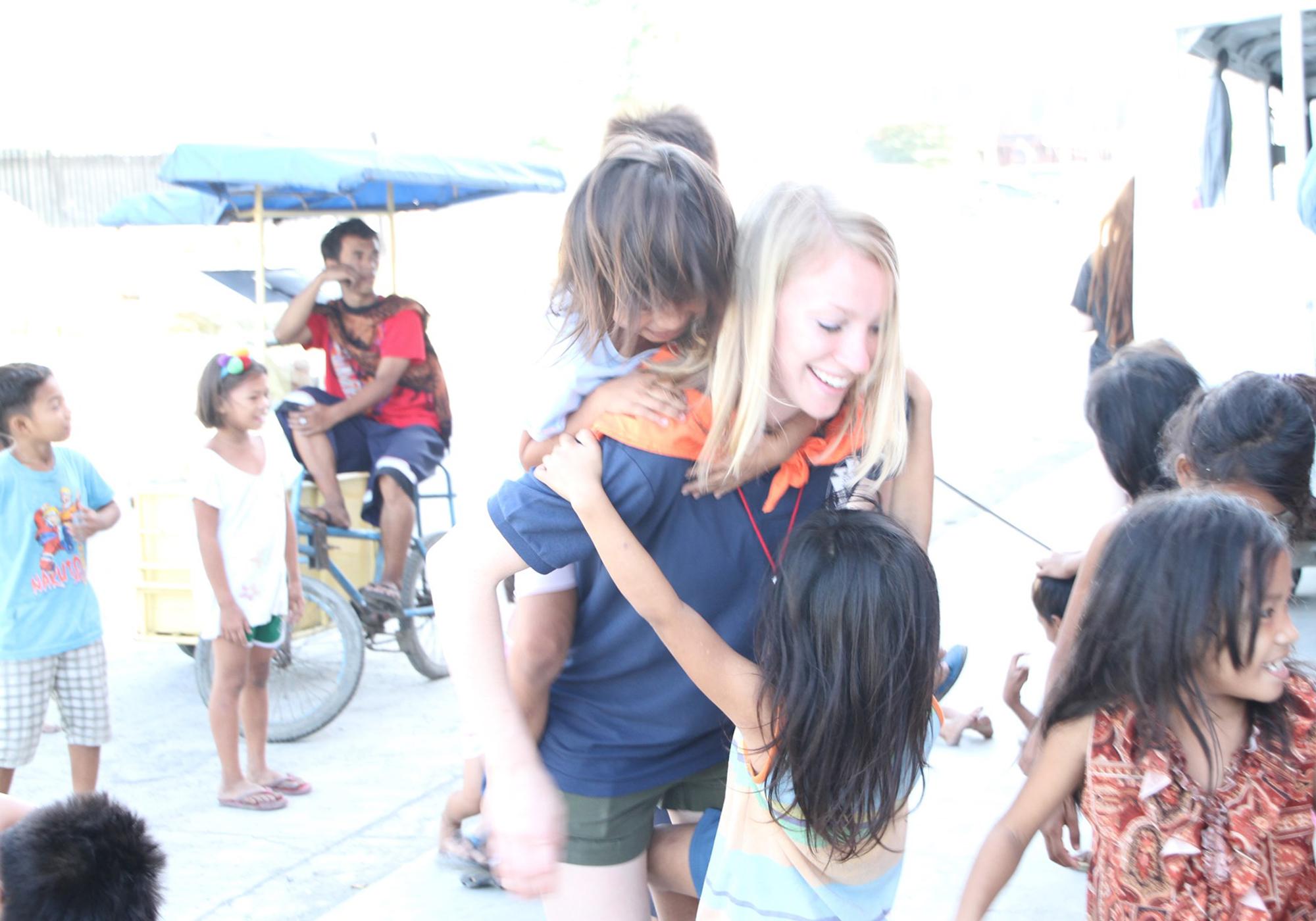 Feeding & playing with street children