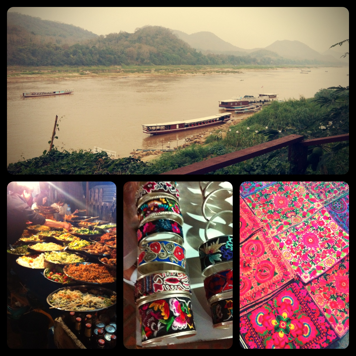 Our last evening in Luang Prabang - dinner overlooking the Mekong River and finding treasures at the night market.