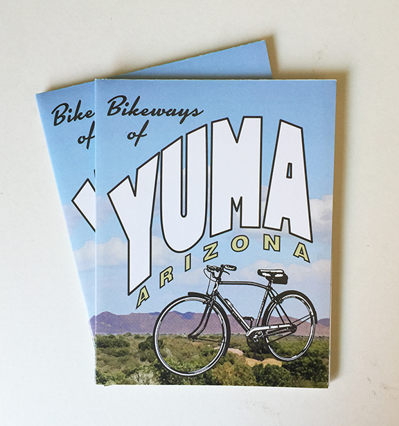 Pick up a free copy at one of many locations around Yuma -- at City Hall, the Visitors Center, the Heritage Area office, the Territorial Prison, or any of the bike shops around town!
